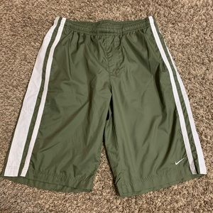 Vintage Nike Olive Green Striped Nylon Shorts